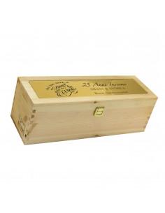 Cassetta in legno per vino personalizzata con targa in metallo - 1 bottiglia - MOZART