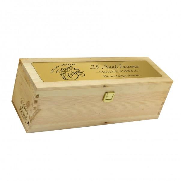 Cassetta in legno per vino personalizzata con targa in metallo - 1 bottiglia - mozart WINE ATTACH