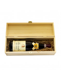 PERSONALIZED WOODEN WINE BOX WITH LARGE METAL FOIL - 1 BOTTLE - MOZART