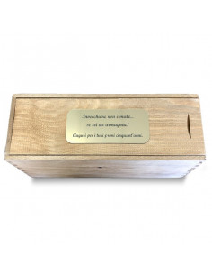 PERSONALIZED WOODEN WINE BOX WITH METAL FOIL - 1 BOTTLE - ELISA