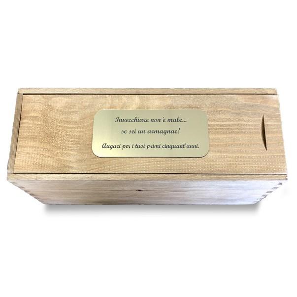 Cassetta in legno per vino personalizzata con targa - 1 bottiglia - elisa WINE ATTACH Grandi