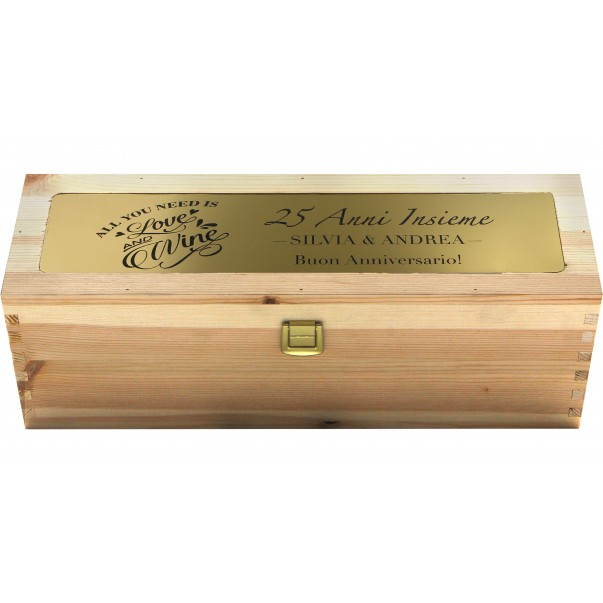 Custom Engraved Wood Wine Box with Metal Foil - Single Bottle