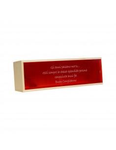 SUPERBA - Cassetta vino personalizzata in legno e plexyglass rosso per 1 bottiglia