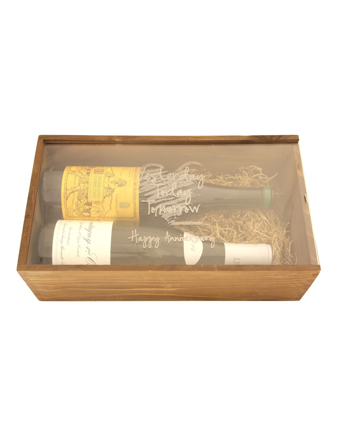 Custom Engraved Wood Wine Box  - Plexiglass Cover 1 or 2 Bottles