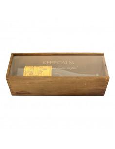 Cassetta in legno per vino personalizzata con coperchio in plexiglass per 1 bottiglia - RENOIR