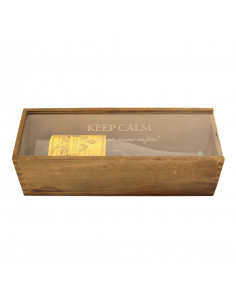 PERSONALIZED WOODEN WINE BOX WITH PLEXIGLASS SURFACE - 1 BOTTLE - RENOIR