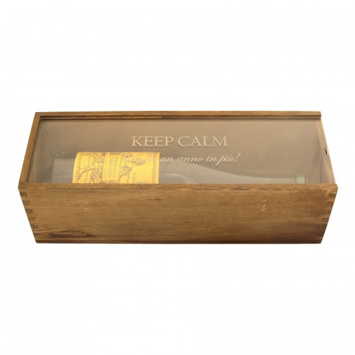 Personalized Wooden Wine Box With Plexiglass Surface 1 Bottle Renoir