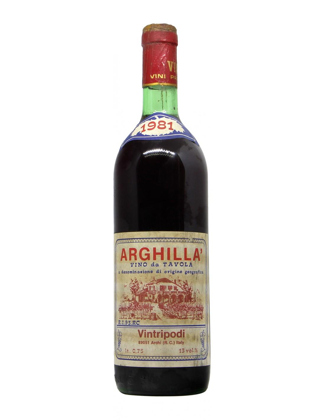 VINO DA TAVOLA ARGHILLA' 1981 VINTRIPODI Grandi Bottiglie