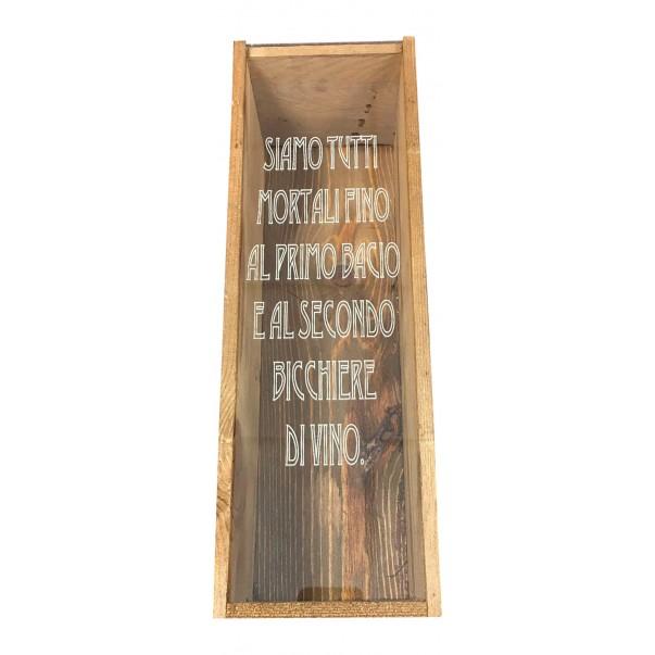 Cassetta in legno personalizzata con coperchio in plexiglass - 1 bottiglia - renoir WINE ATTACH