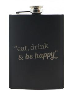 Custom Engraved Liquor Black Flask | oohwine.com