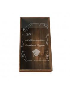 Cassetta in legno per vino personalizzata con coperchio in plexiglass per 1 o 2 bottiglie - PICASSO