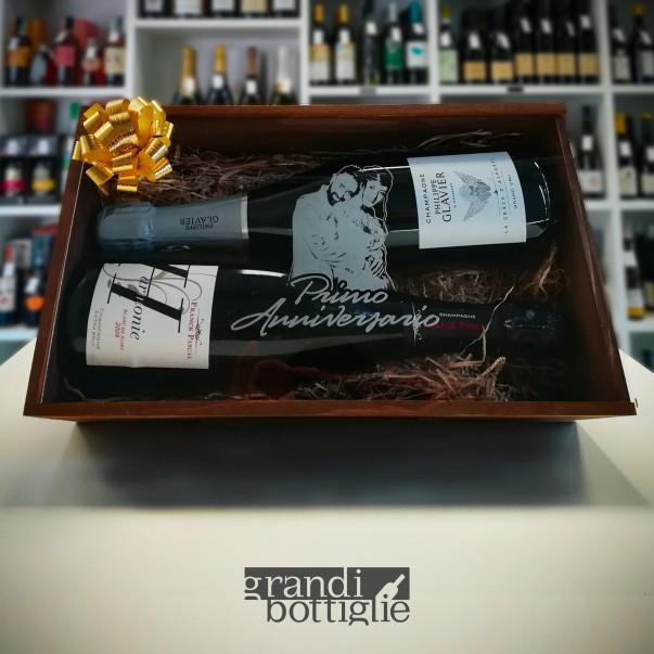 Cassetta in legno per vino personalizzata con coperchio in plexiglass - 1 o 2 bottiglie - picasso