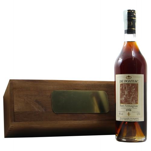 BAS ARMAGNAC CON CASSETTA LEGNO PERSONALIZZATA 1998 DE PONTIAC Grandi Bottiglie