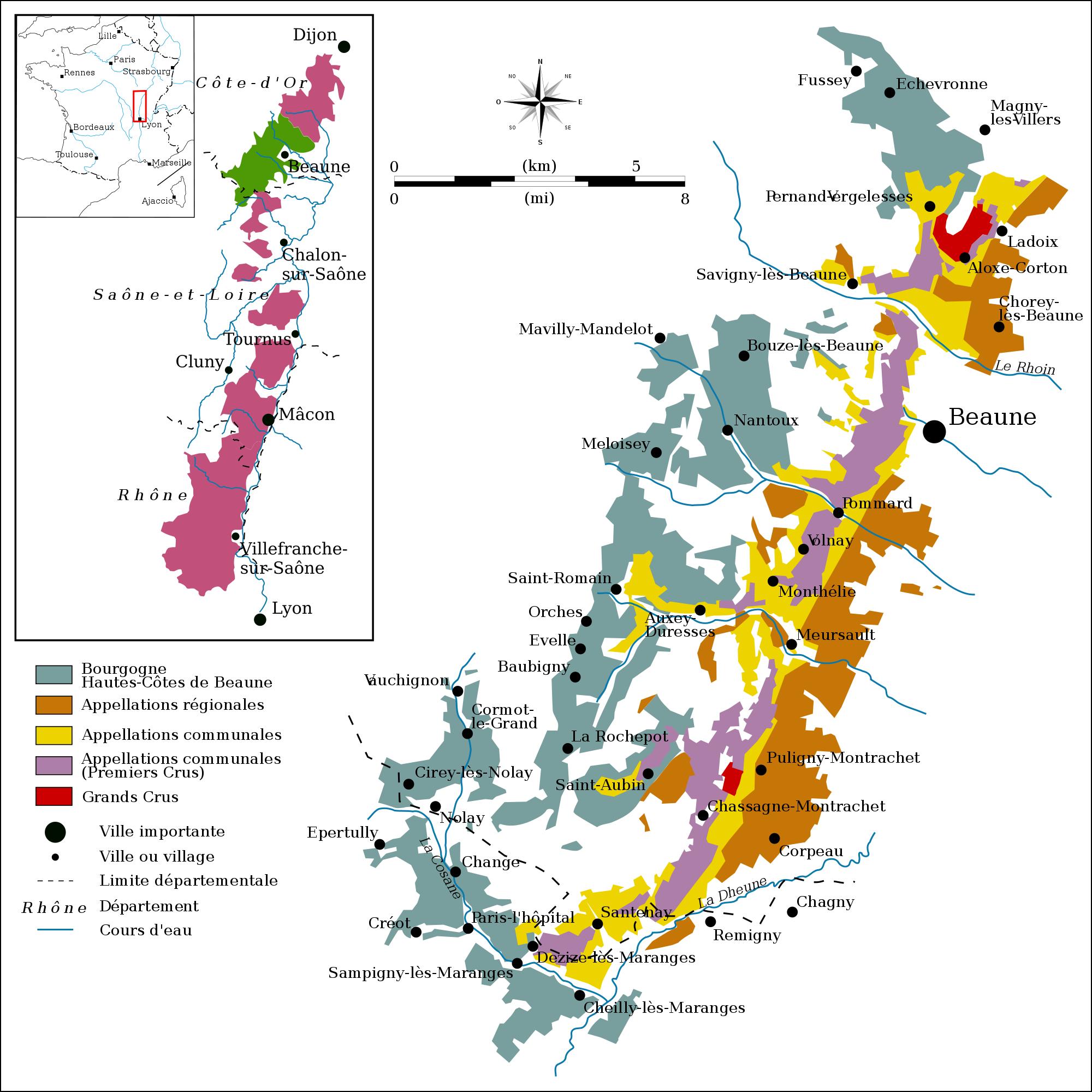mappa borgogna